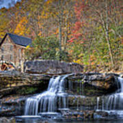 Glade Creek Grist Mill At Babcock Art Print by Williams-Cairns Photography LLC
