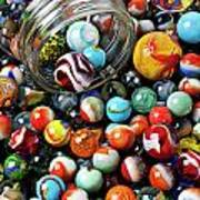 Glass Jar And Marbles Art Print by Garry Gay