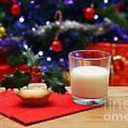 Glass Of Milk And A Mince Pie For Santa Art Print