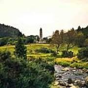 Glendalough Stream And Tower Art Print