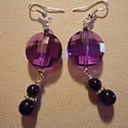 Glitter Me Purple Earrings Print by Jenna Green