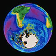 Global Biosphere, Southern Hemisphere, From Space Art Print