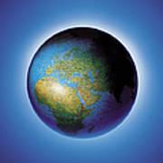 Globe On Blue Background Art Print