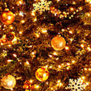 Glowing Golden Christmas Tree Art Print