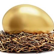 Gold Egg In Nest Art Print