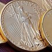 Golden Coins II Art Print