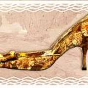 Golden Floral Royalty Shoe Art Print