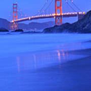 Golden Gate At Dusk Portrait Art Print