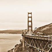 Golden Gate Bridge In Sepia Art Print