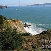 Golden Gate Bridge Viewed From The Marin Headlands Print by Wingsdomain Art and Photography