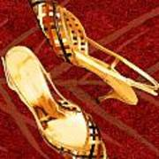 Golden Lattice Slingbacks On Royal Red Carpet Art Print