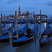 Gondolas At Dusk In Venice Art Print