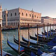 Gondolas Docked Outside Of Piazza San Art Print
