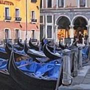 Gondolas On The Canal Art Print