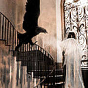 Gothic Surreal Grim Reaper With Large Eagle Art Print