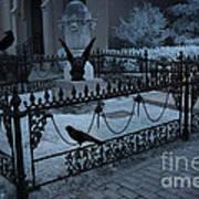Gothic Surreal Night Gargoyle And Ravens - Moonlit Cemetery With Gargoyles Ravens Art Print