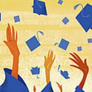 Graduates Throwing Graduation Hats Art Print