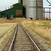 Grain Silos And Railway Track Art Print
