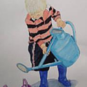 Granda Series-it Won't All Go In. Art Print by Peter Edward Green