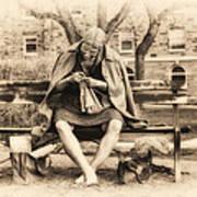 Granny Sitting On A Bench Knitting Ursinus College Art Print