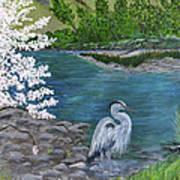Great Blue Heron Art Print by Judy M Watts-Rohanna