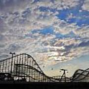 Great White Roller Coaster - Adventure Pier Wildwood Nj At Sunrise Art Print