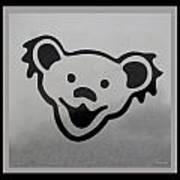 Greatful Dead Dancing Bear In Black And White Art Print