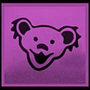 Greatful Dead Dancing Bear In Pink Art Print