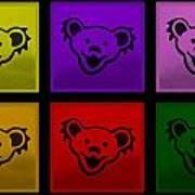 Greatful Dead Dancing Bears In Multi Colors Art Print