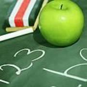 Green Apple For School Art Print by Sandra Cunningham