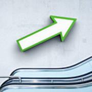 Green Arrow And Escalator Art Print