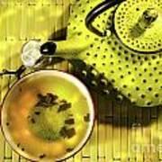 Green Asian Teapot With Cup  Art Print