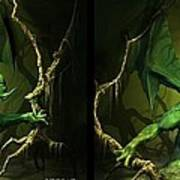 Green Dragon - Gently Cross Your Eyes And Focus On The Middle Image Art Print