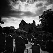 Greyabbey Abbey And Graveyard Cemetary County Down Ireland Art Print