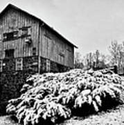 Grist Mill In Winter - Hdr Art Print