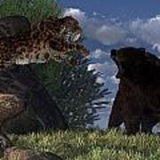 Grizzly Vs. Saber-tooth Art Print