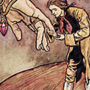 Gulliver In Brobdingnag Kissing The Hand Of The Queen Art Print