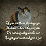 Halloween Calico Cat And Poem Greeting Card Art Print