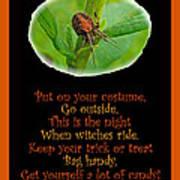 Halloween Card - Spider And Poem Art Print