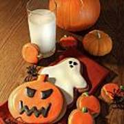 Halloween Cookies With A Glass Of Milk Art Print