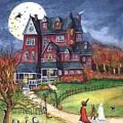 Halloween Haunted Mansion Art Print by Iva Wilcox