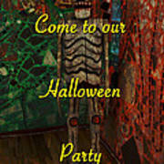 Halloween Party Invitation - Skeleton Art Print