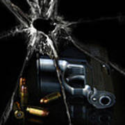 Handgun Bullets And Bullet Hole Art Print
