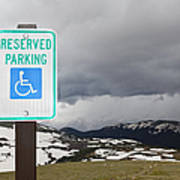 Handicap Parking Sign At A National Park Art Print