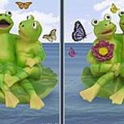 Happy Frogs - Gently Cross Your Eyes And Focus On The Middle Image Art Print