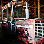 Happy Harvestor Tractor Art Print