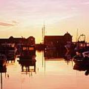 Harbor At Sunrise Art Print by Bilderbuch