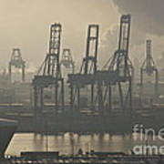 Harbor Cranes Art Print