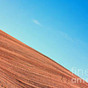 Harvested Crop Lines And Clear Skies Art Print