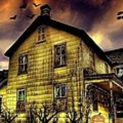 Haunted Halloween House Art Print
